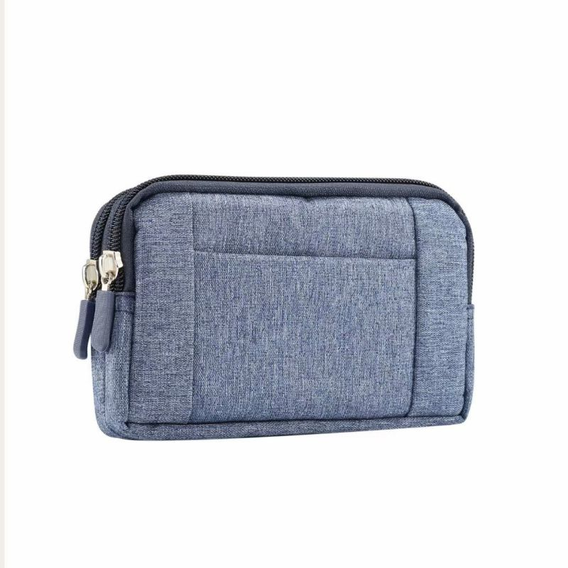 Unisex Portable Waist Bag Horizontal Dual Zippers Anti-scratch Storage Case Pouch For Double Phones