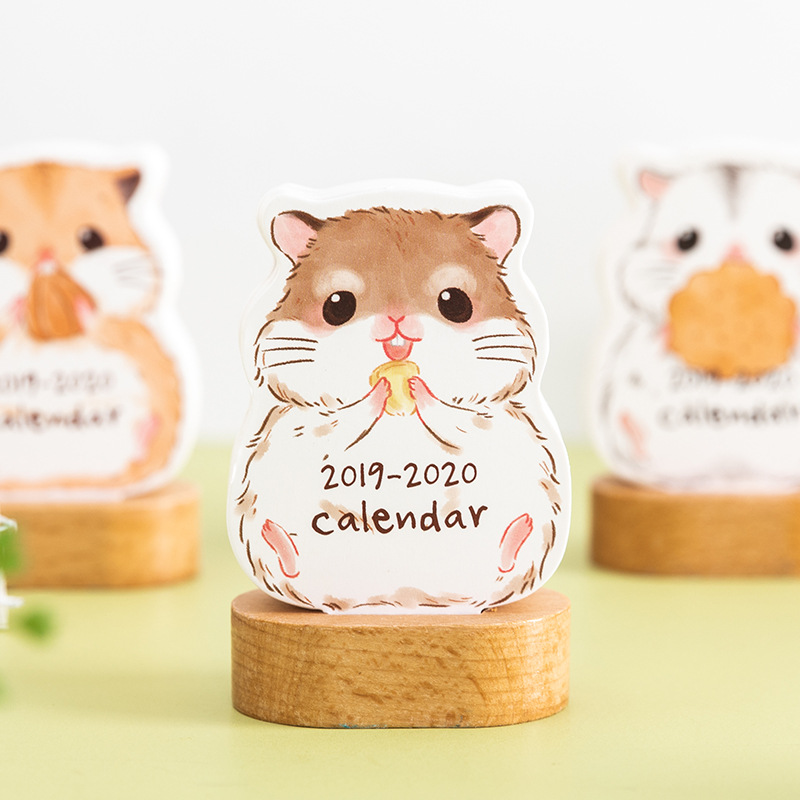 2019-2020 Cute Calendar Kawaii Animal Card Calendar Memo Pad Plug-in Calendar Year Plan Diy Calendar Stationery School Supply