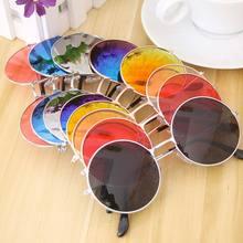 Moda retro redondo óculos de sol senhoras europeu e americano tendência óculos de metal quadro jelly