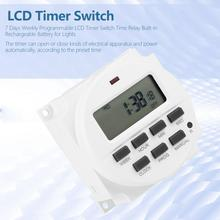 цена на TM618sH-3 24v 24 hours 7 Days Weekly Programmable LCD Timer Switch Time Relay Built-in Rechargeable Battery for Lights