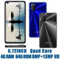 Teléfono Inteligente A30, pantalla Global de 6,72 pulgadas, 4 GB RAM + 64 GB ROM, Quad Core, cámara frontal/trasera de 8MP + 13MP, Android 6,0