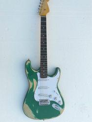 Najwyższej jakości FPST 1022 Antique zrobić stare zielony kolor stałe ciała biały pickguard palisander gryf gitara elektryczna  darmowa wysyłka|Gitary elektryczne|   -
