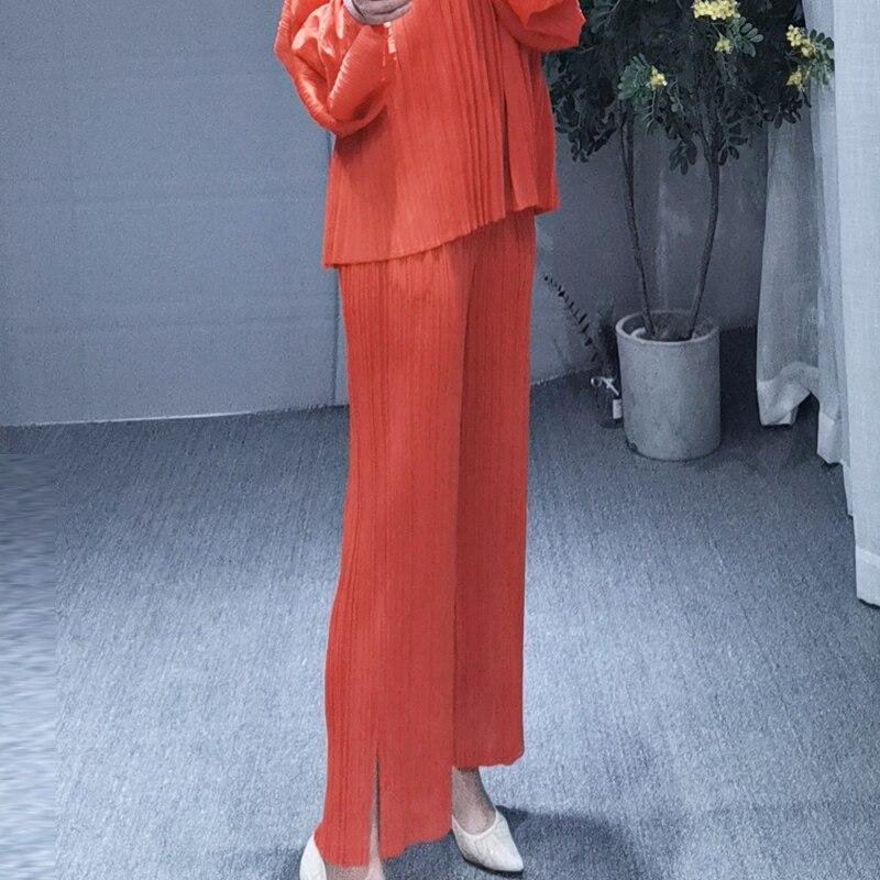 MIYAKE dobrar PP série de tamanho grande das mulheres desgaste fino reta calças dividir cores nove cor calças calça casual livre grátis - 2