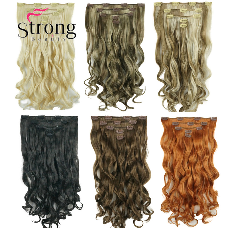 StrongBeauty Wavy Full Head Clip in on Synthetic Hair Extensions 20inch 5pcs 170g COLOUR CHOICES