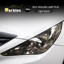 CARBINS película autocurativa PPF para la cabeza tinte negro ahumado para coches, protección LED, antiarañazos, supertransparente, 4 colores