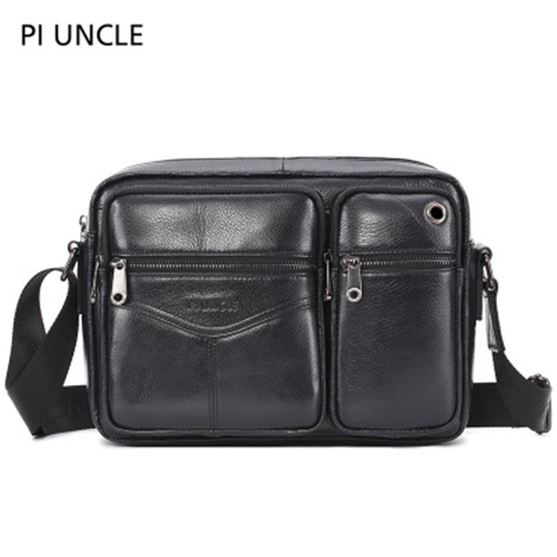 Retro Men's One Shoulder Messenger Bag Briefcase Head Layer Leather Briefcase Men