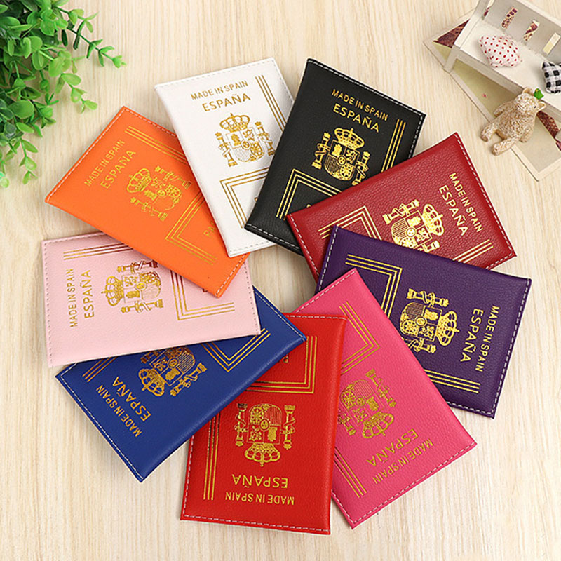 Spain Passport Cover Soft Pu Leather Spanish Women Passport Holder Saipan Pasaporte Silencio