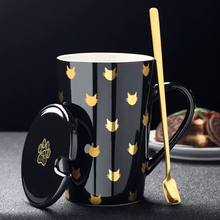 Cute Cats Ceramics Mugs with Spoon Lid coffee mug Milk Tea office Cups Drinkware the Best birthday Gift
