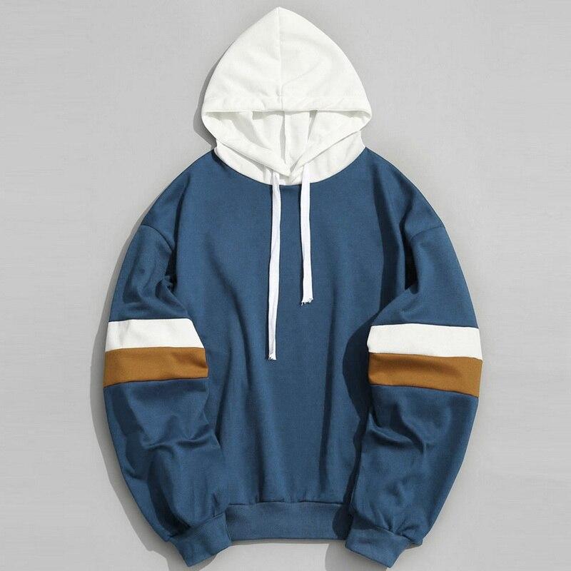 Men Hoodies Sweatshirt Casual Patchwork Slim Fit Hoodie Outwear Sweatshirts
