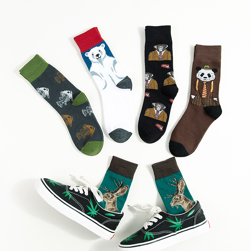 Cartoon Pattern Print Sock Polar Bear Milu Deer Monkey Panda Fish Bone Cute Funny Kawaii Men Lovers Cotton Sock Sporting Casual