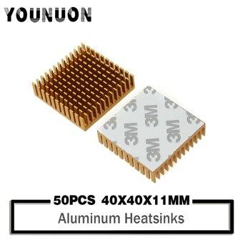50Pcs YOUNUON Heatsink 40x40x11mm Golden Anodize Aluminum Heat Sink Radiator With 9448A 3M Tape