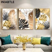 Nórdicos plantas de hoja de oro lienzo pintura mármol carteles y las huellas de la pared abstracto imágenes artísticas para vivir casa habitación decoración moderna