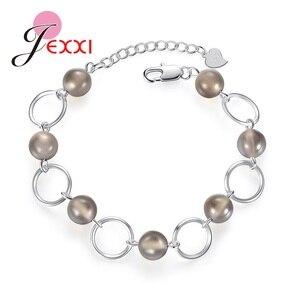 Женские браслеты с кристаллами, серебряные, серые, 925 пробы