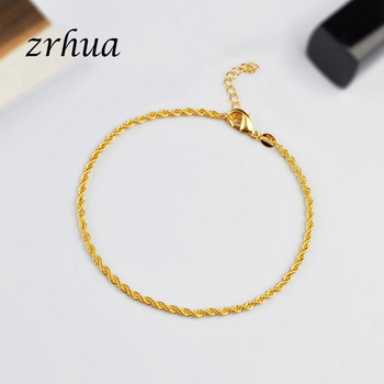 Romantic Twisted chain 925 Sterling Silver Bracelets & Bangles Adjustable Women Charm Anklets Jewelry Gifts Gold Color Bijoux 1