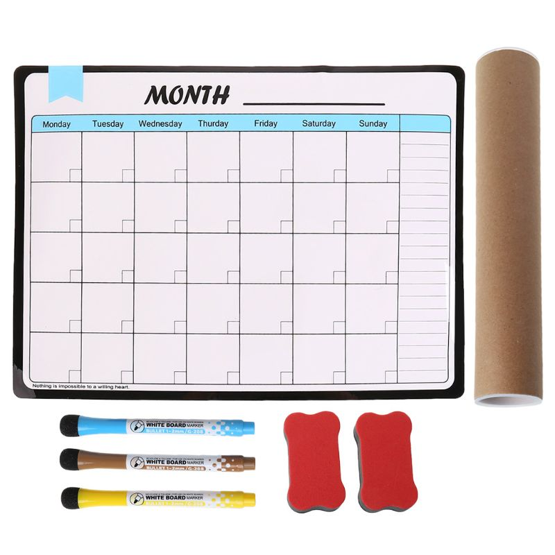 1 Set Monthly Planner Soft Magnetic Whiteboard Fridge Magnets Drawing Message Memo Pad