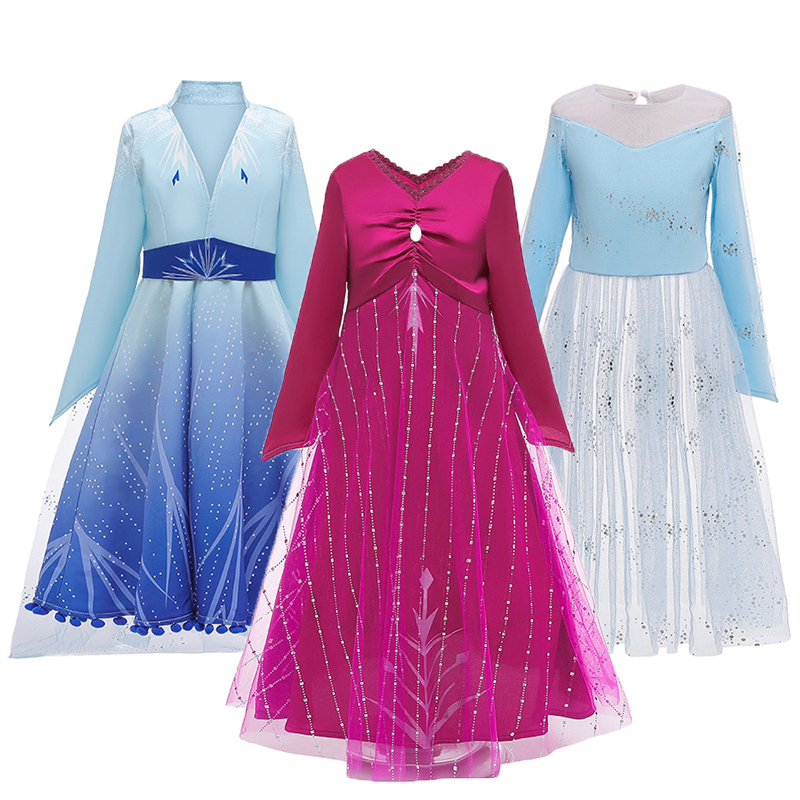 Cosplay Costume Ice Snow Story 2 Anna Elsa Girls Dress Mesh Casual Summer Princess Dresses For Christmas Snow Queen Kids Clothes