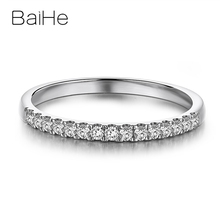 Baihe Solid 18K White Gold 0.15ct/0.22ct/0.26ct Ronde Natural Diamond Wedding Gift Vrouwen Trendy Fine Jewelry Unieke Diamanten Ring