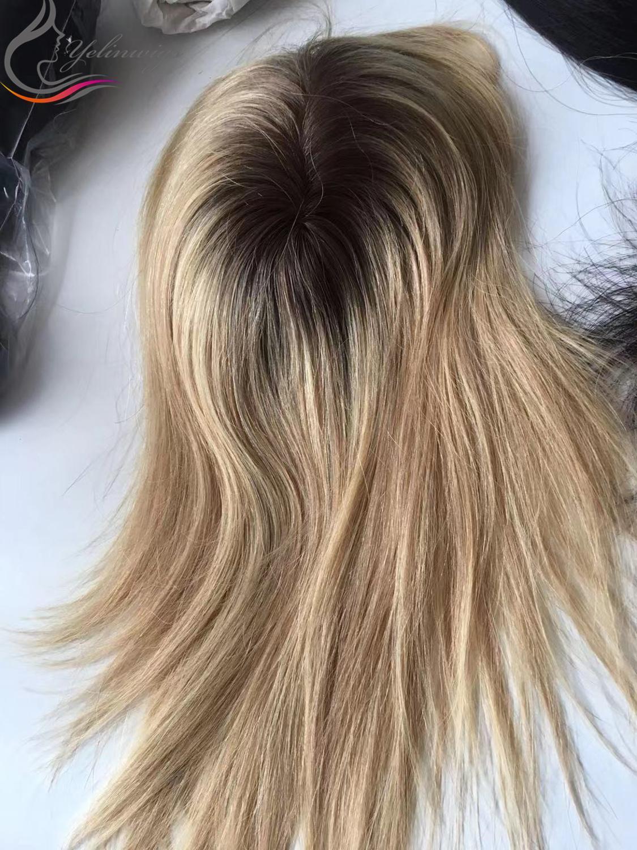 Dark Rooted European Virgin Hair Full Hantied Mono Base Topper Hair Pieces For White Women