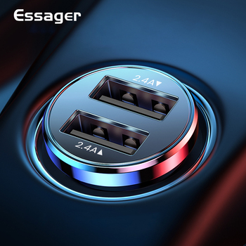 Essager Dual USB Car Charger For iPhone 11 Pro Max Xiaomi mi Samsung S20 S10 4.8A Fast Charging Auto Car Phone Charger Adapter car cigarette powered rotatable charging adapter charger for iphone ipod cell phone white