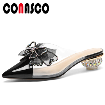 CONASCO Women Sandals Mules Slippers Pumps Genuine Leather High Heels Butterfly-Knot Summer Fashion Wedding Casual Shoes Woman