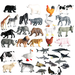 12pcs Simulation Wild Animal Model Toy Mini Animal Lion Tiger Chicken Duck Cow Poultry Ocean PVC Figures Dolls toys for children