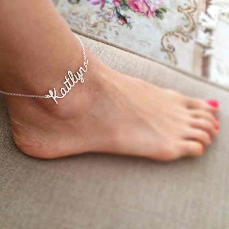Spersonalizowana nazwa własna Anklet kobiety złota bransoletka na nogę biżuteria na stopy ze stali nierdzewnej ręcznie list łańcuch obrączki urodziny prezent