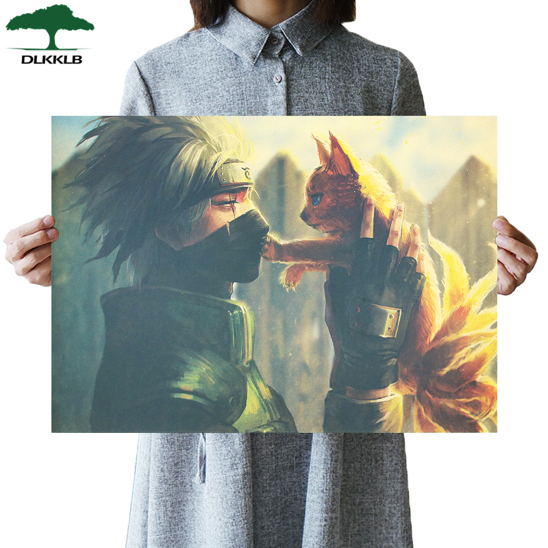 DLKKLB Classic Retro Anime Poster Naruto Vintage Kakashi And Nine-Tail Art Home Decor Painting Living Room Bedroom Wall Stickers
