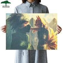 DLKKLB классический ретро аниме плакат Наруто Винтаж Какаши и девять хвостов искусство домашний декор живопись Гостиная Спальня наклейки на стену