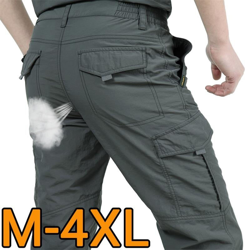 Men Pants Tactical-Trousers Multi-Pocket Work Military Army Quick-Dry Summer Loose Breathable