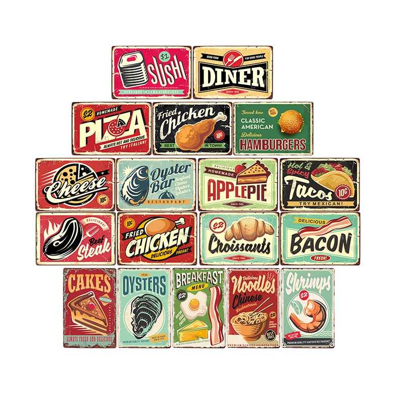 Food/Pizza/Cake/Menu Retro Chic Plaque Metal Tin Signs Cafe Bar Pub Restaurant House Signboard Wall Decor Vintage Poster