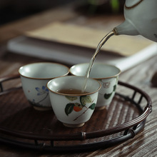 Tea-Cup Ceramic Large-Size Glaze Ru-Porcelain Chinese-Style Raise Can Gracked New
