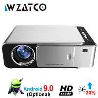 WZATCO T6 Android 9.0 WIFI Smart support facultatif 1080p HD LED Portable Mini projecteur vidéo pour Home cinéma jeu cinéma