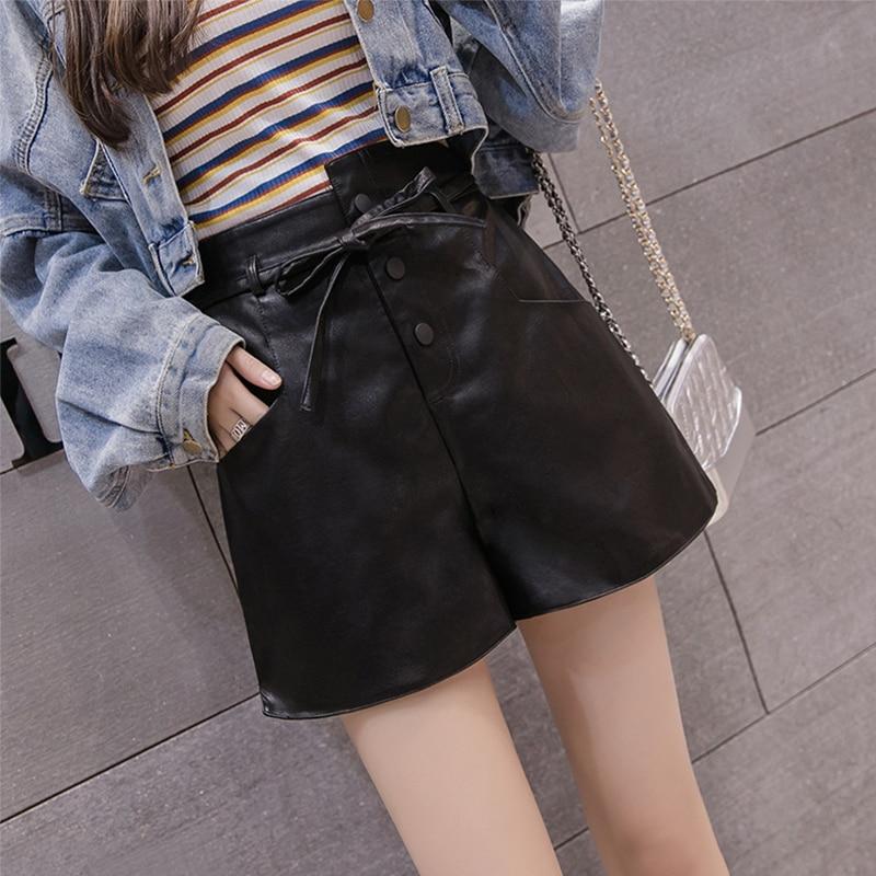 Fashion High Waist PU Leather Shorts Women Casual Solid Lace Up Width-Leg Shorts Autumn Winter Female Short Pants Streetwear New