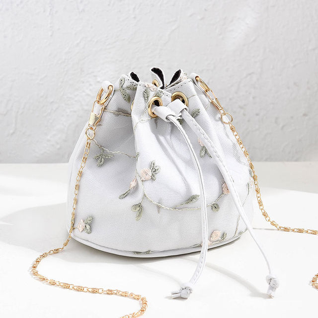 Luxury  Embroidered PU Leather Chain Crossbody Bucket Bag 3