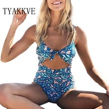 TYAKKVE 2019 Sexy Female Retro V Neck Blue Swimsuit One Piece print Push Up Padded High Waist Swimwear Women Monokini S-XL