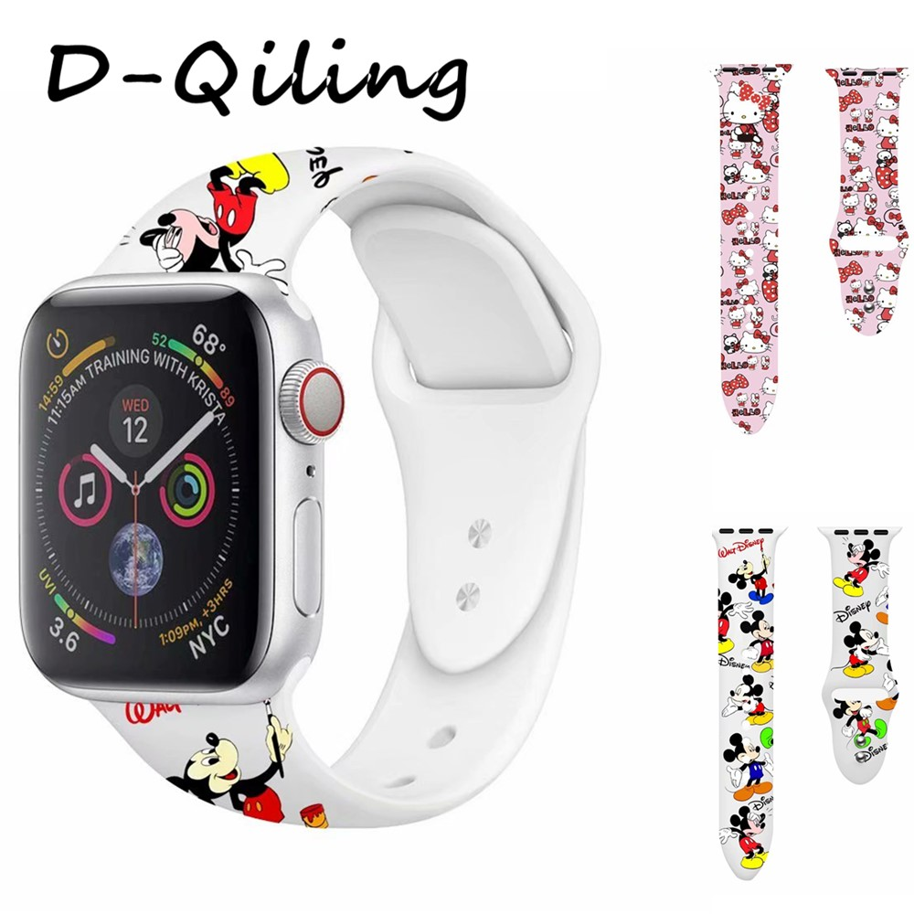 Hello Kitty Mickey Silicone Band For Apple Watch 38 42 40 44mm Printing Replaceable Strap For Iwatch Series 4 3 2 1 Watchbands