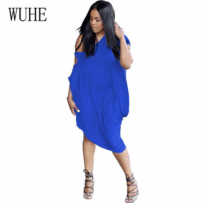 WUHE/женское повседневное свободное платье большого размера XXL, элегантное однотонное платье с полым рукавом, модное летнее вечернее платье, женское платье