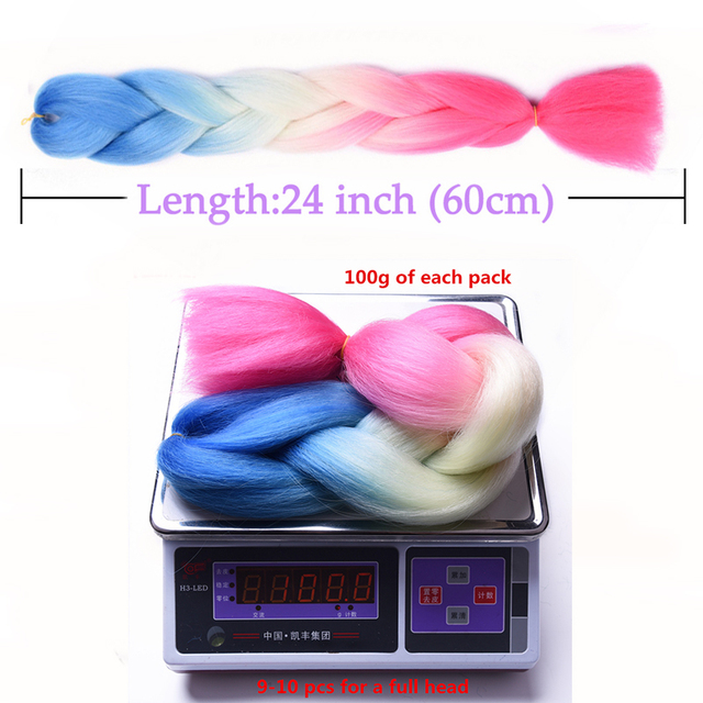 24 Glowing Synthetic Jumbo Braids Shining Hair in the Darkness Soft Braiding Hair Extension Fluorescent Light Braids Hair Pink