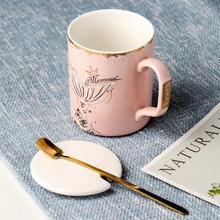 Mermaid Cute Ceramic Mug with Lid Spoon Tea Milk Coffee Cup Home School Girls Mugcup Drinkware Friend Gift