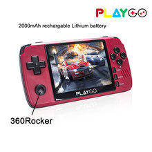 Red Playgo 3.5 inch screen portable handheld game console with 16GB SD Card built in games emulator pocket console