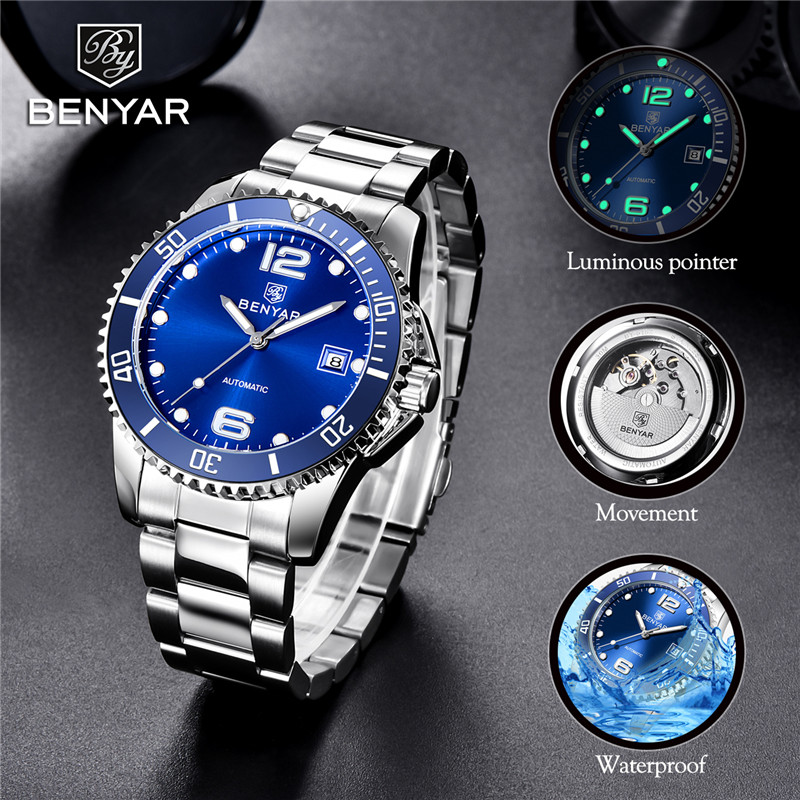 BEYANR Mechanical Watch Men Automatic Military Waterproof Mens Watches Top Brand Luxury Stainless Steel Clock Relogio Masculino|link|pcs|  -