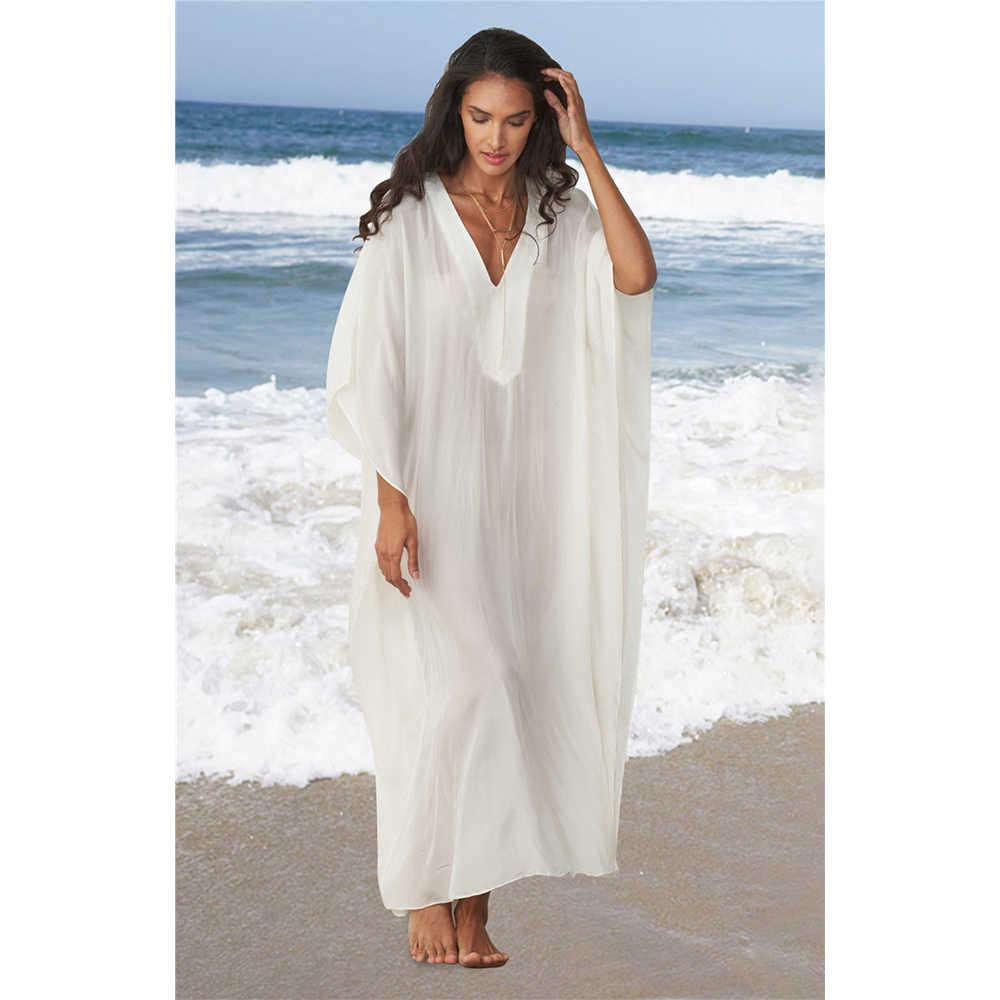 白カフタンビーチドレスプラスサイズルースコットンチュニックビーチウェアビキニカバーupsバットウィングスリーブローブ · デ · プラージュsarongs vestidos