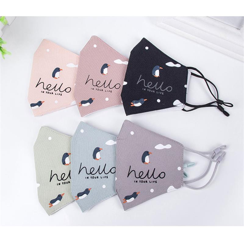 1Pcs Penguin Color Cotton PM2.5 Black Mouth Mask Anti Dust Mask Activated Carbon Filter Windproof Mouth-muffle Bacteria