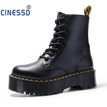 Europe Women Thick Bottom 8-hole Cowhide Martin boots Ankle Lace up Platform Boot British Woman Short Boots Muffin bottom Shoes цены онлайн