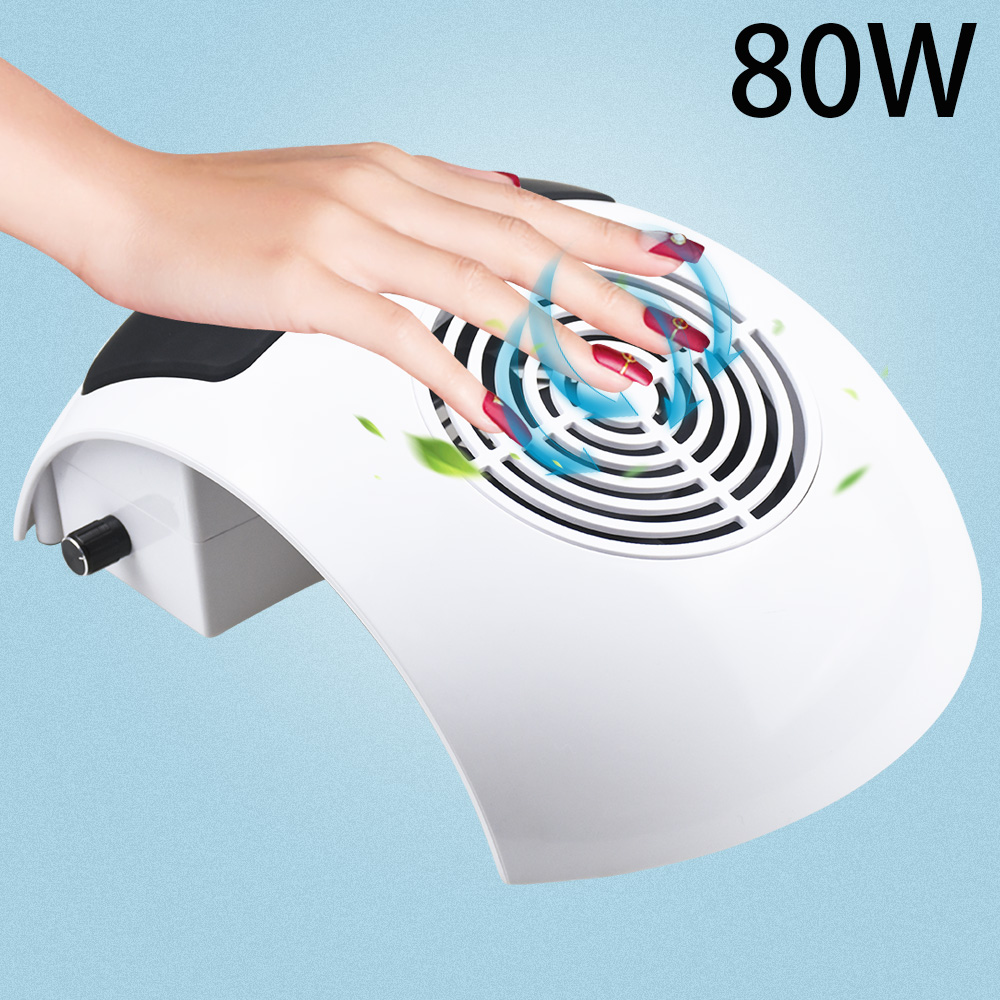 80/60W Strong Vacuum Nail Suction Duct Collector With Big Power Fan Vacuum Cleaner For Manicure Tools Nail Art Equipment