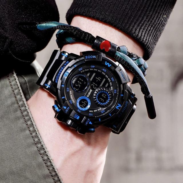 New Sport Men Digital Watch Cool Luminous Watches Men Sport Fitness Timer Watches Clock Alarm Clock Hourly Chime reloj de hombre