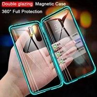 360磁気メタル両面ガラス電話ケースhuawei社の名誉メイト20 lite P40 P30 P20プロ8X 9X y9首相psmart 2019 zカバー