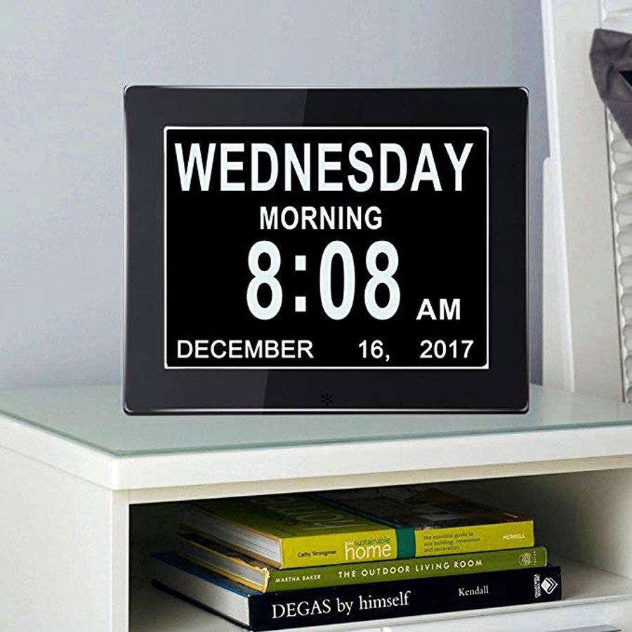 8 Язык цифровой день часы очень большой Экран металл электронный календарь будильник памяти потери слуха пожилых и ухудшение зрения|Будильники| | АлиЭкспресс
