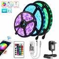 RGB şerit 12V su geçirmez LED diyot bant 15M esnek Neon şerit LED ışık şeridi 2835 Wifi ledstrip ile 24key kontrol adaptörü