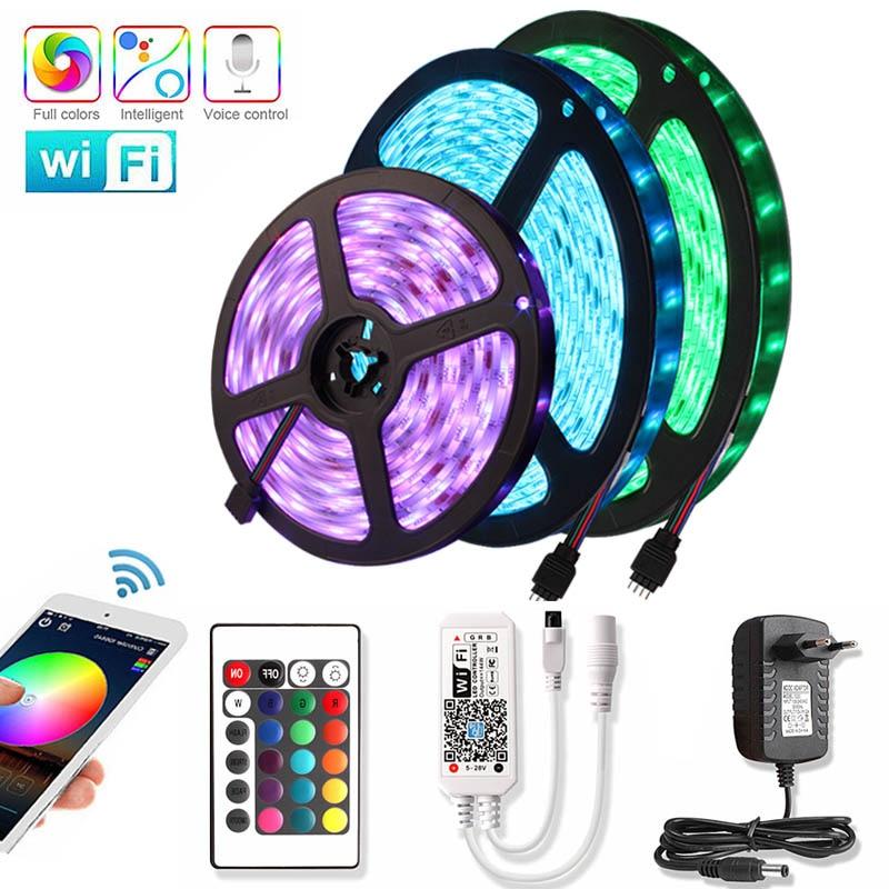 RGB LED Strip 12V Waterproof Diode Tape 15M Flexible Neon Ribbon LED Light Strip 2835 Wifi Ledstrip With 24key Control Adapter